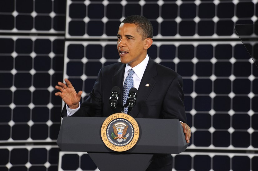 President Obama speaks to the Airman of Nellis Air Force Base Nev. during a visit to Las Vegas.  The president spoke about issues concerning world energy and the importance of solar power.  (U.S. Air Force Photo/Senior Airman Brian Ybarbo, released)
