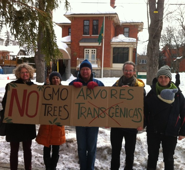 Activists out front of the Brazilian Embassy in Ottawa, Canada.