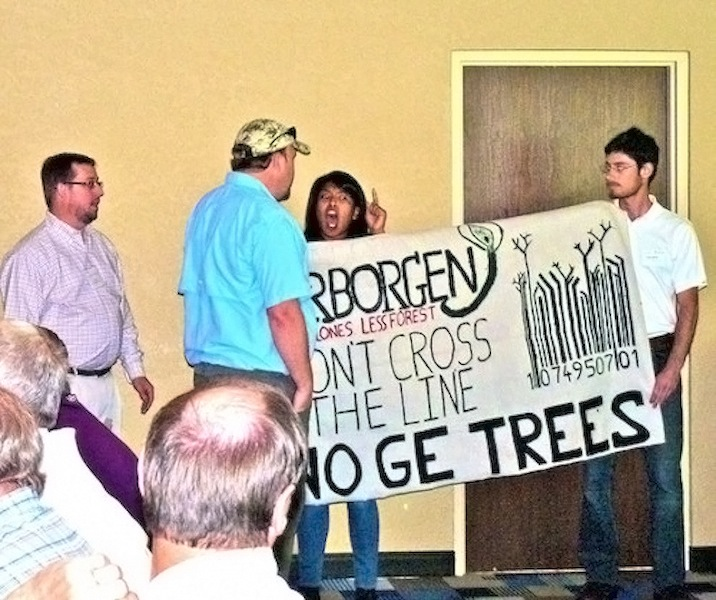 Protesters disrupt genetically engineered trees corporateevent