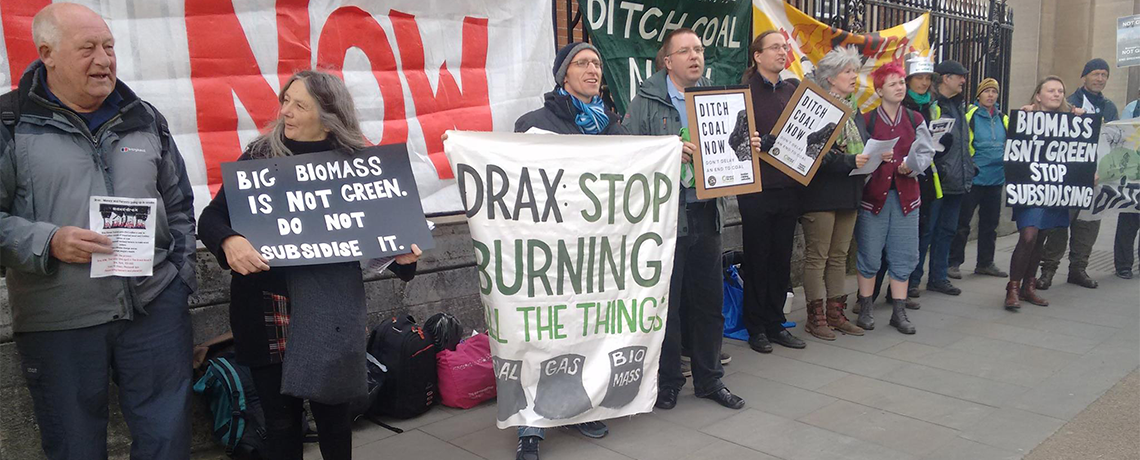 Protesters Against Drax Plc: 'Divest from Biomass, Coal and Gas'