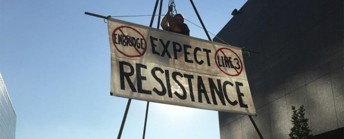 Water Protector Suspended 25 Feet in Demonstration Against Line 3 Pipeline